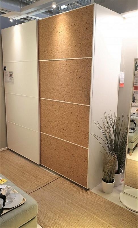 шкафы купе пробковые обои декор для дверей